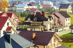 Vista aerea di zona residenziale con le case moderne in Ivano-Fran Fotografie Stock