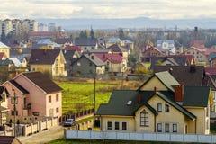Vista aerea di zona residenziale con le case moderne in Ivano-Fran Fotografia Stock Libera da Diritti