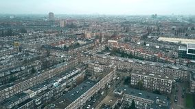 Vista aerea di zona residenziale tipica nel distretto di Rijnbuurt verso il centro urbano a Amsterdam, Paesi Bassi Immagini Stock Libere da Diritti