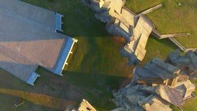"""Vista aerea fortificazione di Kaunas nona del †di architettura monumentale """"- monumento della seconda guerra mondiale stock footage"""