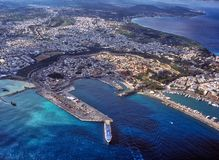 Vista aerea generale di vecchia porta di Rhodes Greece Fotografie Stock