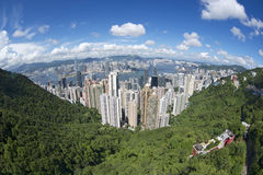 Vista aerea grandangolare alla città di Hong Kong, Cina Fotografie Stock Libere da Diritti