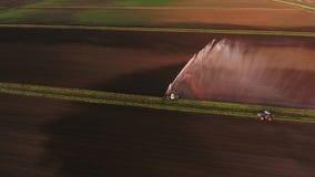 Vista aerea: Impianto di irrigazione che innaffia un campo dell'azienda agricola Immagine Stock