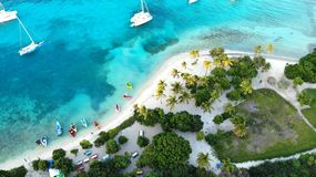 Vista aerea, isole del Grendines, Tobago fotografie stock