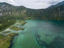 Vista aerea, lago Almsee nelle alpi austriache Fotografia Stock