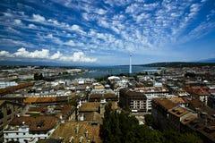 Vista aerea larga di Ginevra Fotografie Stock Libere da Diritti