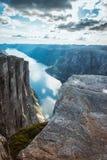 Vista aerea Lysefjorden da Kjeragbolten Norvegia fotografia stock