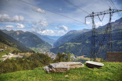 Vista aerea moderna delle alpi svizzere Fotografie Stock
