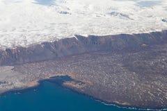Vista aerea naturale del paesaggio di inverno dell'Islanda Immagine Stock Libera da Diritti