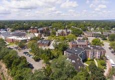 Vista aerea in Newton, mA, U.S.A. delle chiese immagine stock libera da diritti