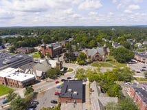 Vista aerea in Newton, mA, U.S.A. delle chiese fotografia stock libera da diritti