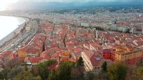 Vista aerea Nizza di Città Vecchia Riviera francese archivi video