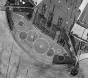 Vista aerea, osservante gi?, le progettazioni geometriche sulla terra immagine stock