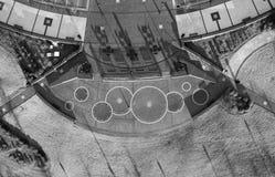 Vista aerea, osservante gi?, le progettazioni geometriche sulla terra fotografia stock libera da diritti