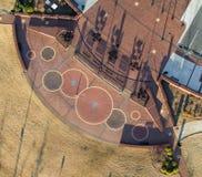 Vista aerea, osservante gi?, le progettazioni geometriche sulla terra fotografia stock