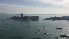 Vista aerea panoramica di Venezia L'Italia europa Panorama di vecchia città Mattina stock footage