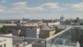 Vista aerea panoramica su paesaggio urbano St Petersburg, Russia stock footage