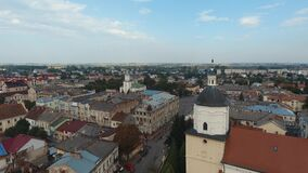 Vista aerea - piccola città a Sambor, centro urbano, Ucraina stock footage