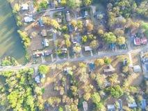 Vista aerea scenica di area suburbana verde di Ozark, Arkansas, Stati Uniti Fotografie Stock