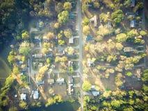 Vista aerea scenica di area suburbana verde di Ozark, Arkansas, Stati Uniti Fotografia Stock Libera da Diritti