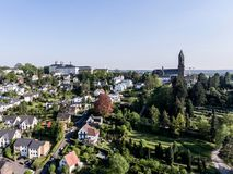Vista aerea Schloss Bensberg e dintorni pubblici Berglisch Gladbach Germania vicino a Colonia Immagine Stock Libera da Diritti