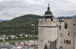 Vista aerea sopra il centro storico di Salisburgo dalla fortezza, Austria Fotografia Stock Libera da Diritti