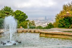 Vista aerea sopra il centro urbano storico di Barcellona Spagna immagini stock libere da diritti