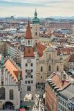 Vista aerea sopra la città di Monaco di Baviera Fotografia Stock Libera da Diritti