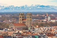 Vista aerea sopra la città di Monaco di Baviera Immagine Stock