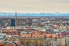 Vista aerea sopra la città di Monaco di Baviera Immagini Stock Libere da Diritti