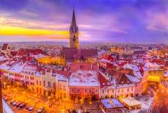 Vista aerea sopra St Mary a Sibiu fotografia stock libera da diritti