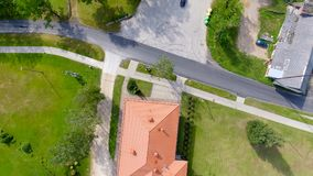 Vista aerea sopraelevata delle case della campagna Fotografie Stock