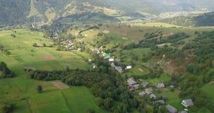 Vista aerea: Sorvolare un bello campo nelle montagne carpatiche vicino alla città Mizhgirja archivi video
