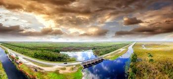 Vista aerea stupefacente dei terreni paludosi parco nazionale, Florida Fotografie Stock