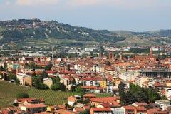 Vista aerea su alba. Piemonte, Italia. immagine stock libera da diritti