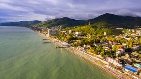 Vista aerea su area di località di soggiorno della spiaggia Fotografia Stock