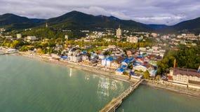 Vista aerea su area di località di soggiorno della spiaggia Immagine Stock Libera da Diritti