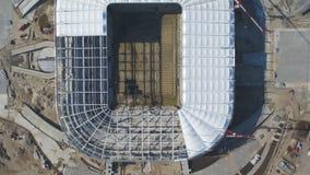 Vista aerea su costruzione e su ricostruzione di stadio di football americano Ricostruzione dello stadio per ospitare le partite  immagini stock libere da diritti
