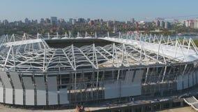 Vista aerea su costruzione e su ricostruzione di stadio di football americano Ricostruzione dello stadio per ospitare le partite  fotografie stock