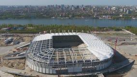 Vista aerea su costruzione e su ricostruzione di stadio di football americano Ricostruzione dello stadio per ospitare le partite  immagine stock libera da diritti