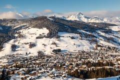 Vista aerea su Ski Resort Megeve in alpi francesi Fotografia Stock