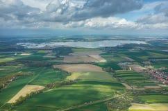 Vista aerea su un lago fotografia stock