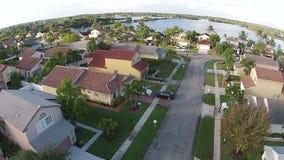 Vista aerea suburbana delle case stock footage