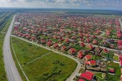 Vista aerea sugli insediamenti di Komarovo Tjumen' Fotografie Stock Libere da Diritti