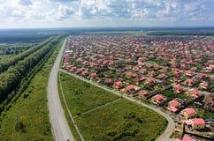 Vista aerea sugli insediamenti di Komarovo Tjumen' Fotografia Stock