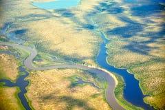 Vista aerea sui paesaggi del nord di Yakutia fotografia stock