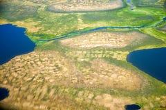 Vista aerea sui paesaggi del nord di Yakutia fotografie stock libere da diritti