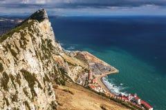 Vista aerea sul cantiere sotto la roccia di Gibilterra Immagini Stock