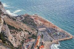 Vista aerea sul cantiere sotto la roccia di Gibilterra Fotografia Stock Libera da Diritti