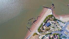 Vista aerea sul serpente gigante dell'oceano in perni di Brevin Les del san Immagine Stock Libera da Diritti